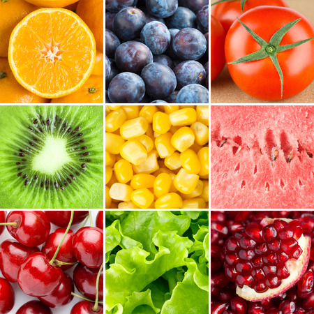 Healthy fresh food background. Collection with different fruits, berries and vegetables