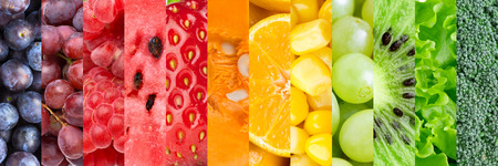 Healthy food background. Collection with different fruits, berries and vegetables photo