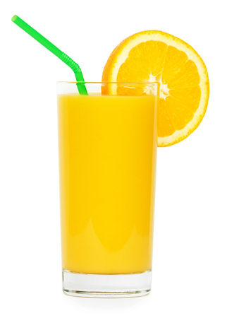 Fresh orange juice and slice of orange on white background photo