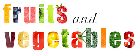 mixed vegetables: Fruits and vegetables concept Stock Photo