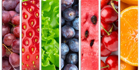 slices: Collection with different fruits, berries and vegetables