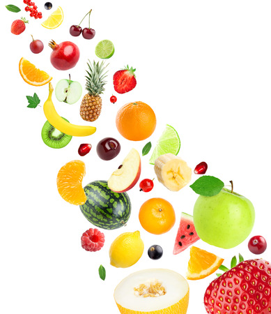mixed fruits: Fresh healthy fruits collection on white background