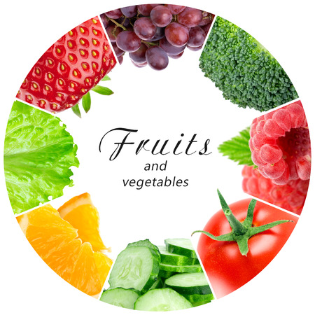 food on white: Fresh fruits and vegetables. Healthy food concept