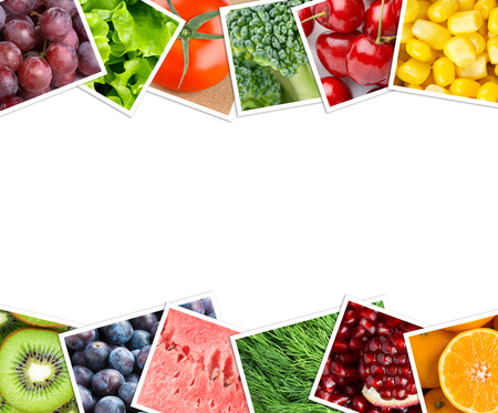 eating healthy: Collage of fruits and vegetables photos. Healthy food concept