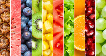 green  vegetable: Healthy food background. Collection with different fruits, berries and vegetables Stock Photo