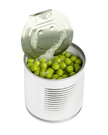tin can: Green peas in tin can on white background