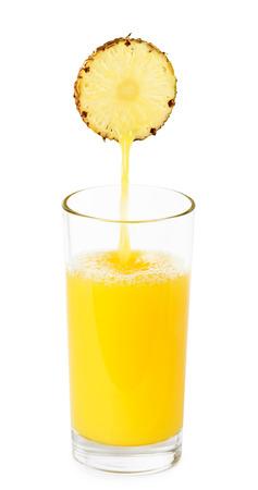 pineapple juice: Glass of pineapple juice on white background