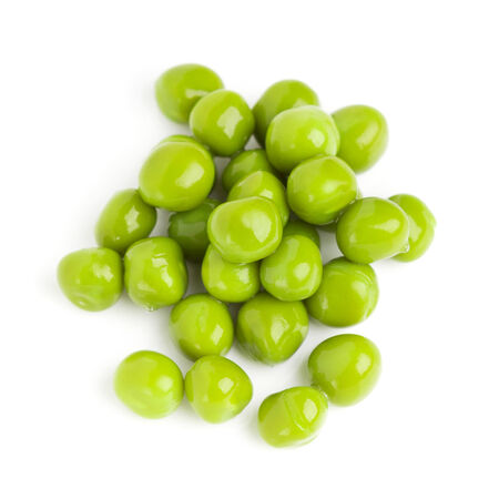 canned peas: Green peas on white background