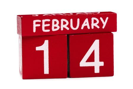 14 february: 14 February on white background