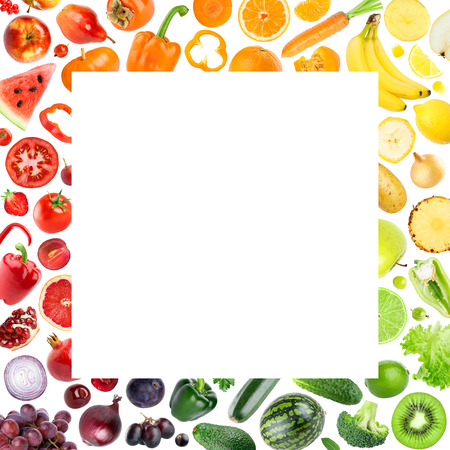 Collection of fruits and vegetables on white background. Food concept Stock Photo
