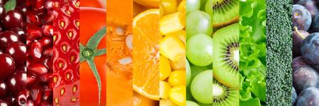 legumes: Fond de la nourriture saine. ollection avec diff�rents fruits, baies et l�gumes Banque d'images