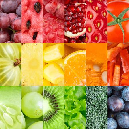 verduras: Colecci�n de frutas frescas saludables y hortalizas fondos Foto de archivo