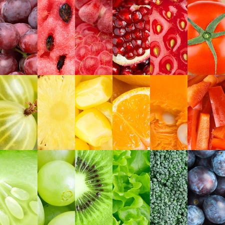 fresh strawberries: Collection of healthy fresh fruits and vegetables backgrounds