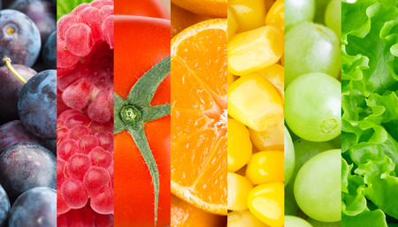 Healthy fresh fruits and vegetables background Stock Photo