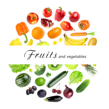 mixed fruit: Collection of fruits and vegetables on white background. Fresh food