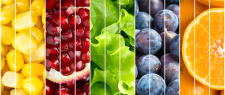 mixed vegetables: Healthy food. Collection fruits and vegetables background
