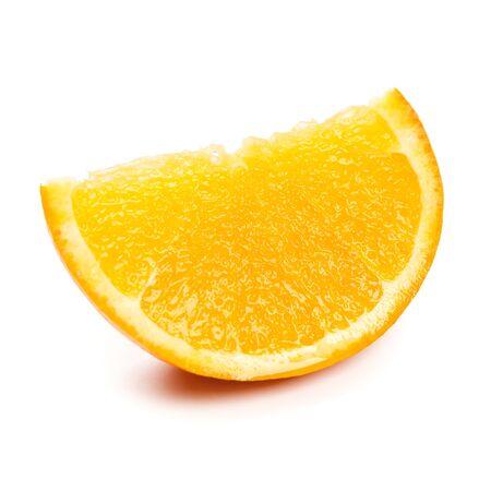 orange slice: Orange slice close-up op witte achtergrond  Stockfoto