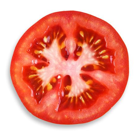 tomato slice: Fresh tomato slice closeup on white background Stock Photo
