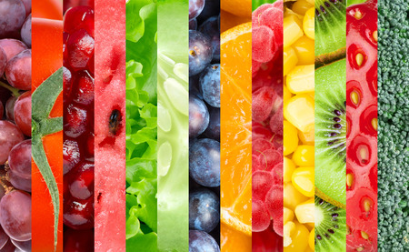 Healthy food background. Collection with different fruits, berries and vegetables Imagens