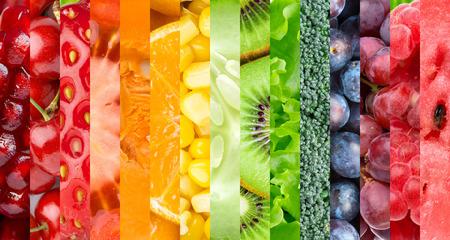 arc en ciel: Fond de la nourriture saine. Collection avec différents fruits, baies et légumes Banque d'images