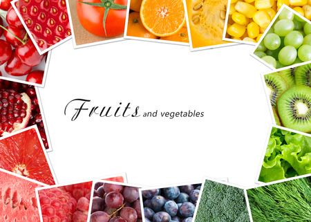 Fresh fruits and vegetables. Healthy food concept photo