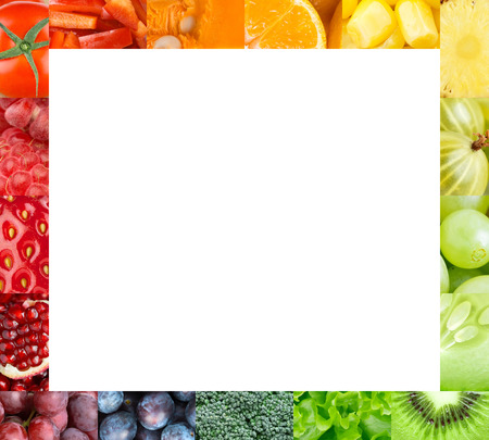 mixed vegetables: Fresh fruits and vegetables frame. Food concept Stock Photo