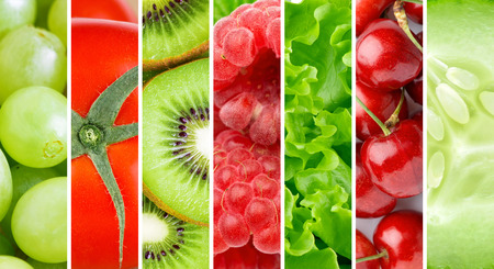 fresh fruit: Fresh fruit and vegetable background Stock Photo