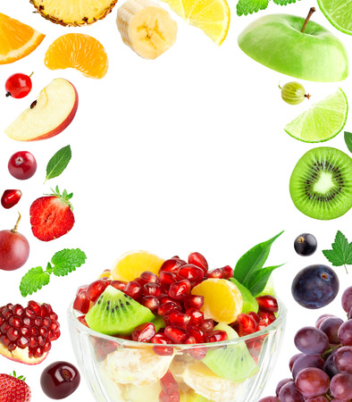 Fresh fruit salad. Mixed fruits. Fruit concept