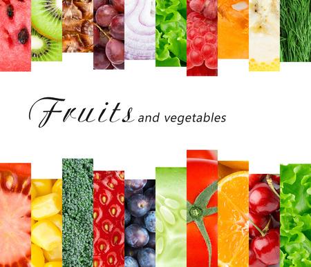 verduras verdes: Frutas y verduras frescas. Concepto de alimentos saludables