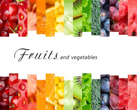comiendo frutas: Frutas y verduras frescas. Concepto de alimentos saludables
