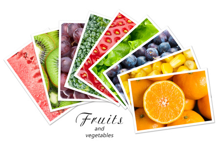 mixed fruits: Fresh fruits and vegetables. Healthy food concept