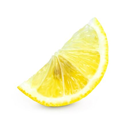 lemon slice: Fresh lemon slice on white background