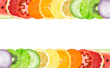 eating fruit: Color fruit and vegetable slices on white background. Food concept
