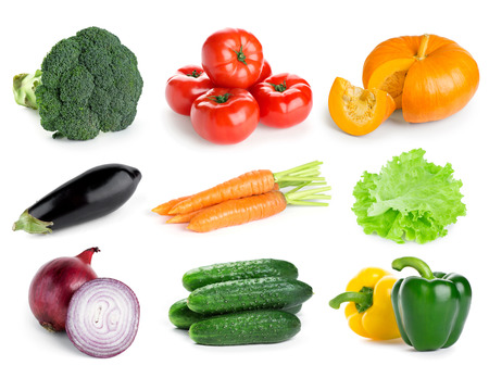 Collection of fresh vegetables on white background