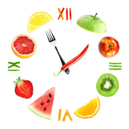 alimentacion sana: Reloj de la Alimentaci�n con frutas. Concepto de alimentos saludables