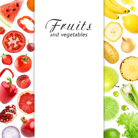 mixed fruits: Mixed fruits and vegetables. Food concept Stock Photo