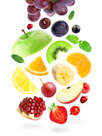 Falling color fruits and berries on white background 版權商用圖片
