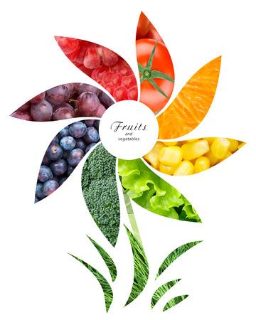 comida sana: Frutas y verduras frescas. Concepto de alimentos saludables
