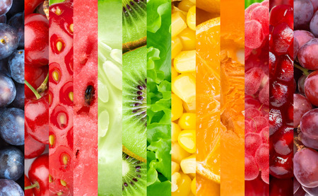 Healthy food background. Collection with color fruits, berries and vegetables. Stock Photo