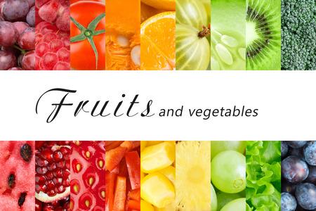 comer sano: Frutas y verduras frescas. Concepto de alimentos saludables