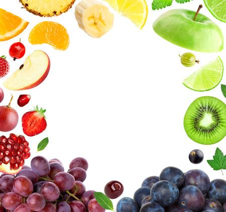 owoców: Świerzy owoc. Mieszane owoce. Koncepcja owoce
