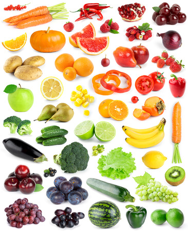 Color fruits and vegetables on white background photo