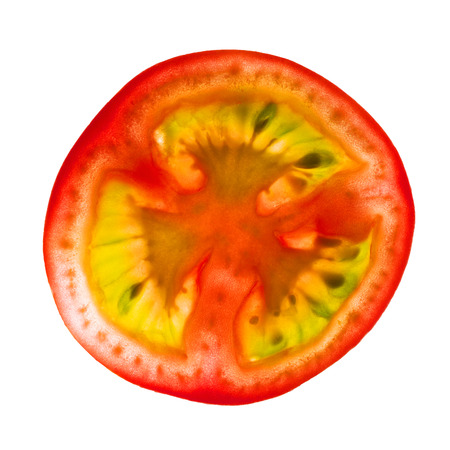 slice tomato: Fresh slice tomato on white background Stock Photo