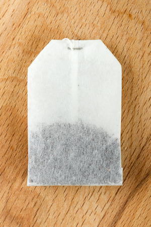 Teabag on wooden background Stock Photo