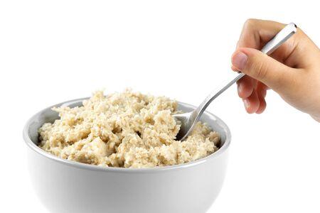 breakfast bowl: Bowl of porridge on white background. Healthy breakfast
