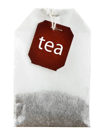 teabag: Teabag with red label on white background