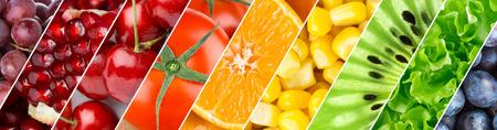 comiendo frutas: Color de frutas, bayas y verduras. Fondo del alimento saludable