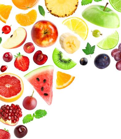 Falling fresh fruits and berries on white background 版權商用圖片