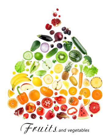 verduras: Colecci�n de frutas y verduras en el fondo blanco. concepto de la comida