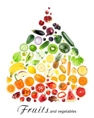 mixed vegetables: Collection of fruits and vegetables on white background. Food  concept Stock Photo